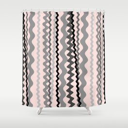 Black and Grey hand drawn vertical stripes on pink - Mix & Match with Simplicity of Life Shower Curtain