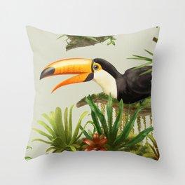 Toco Toucan vintage illustration. Throw Pillow