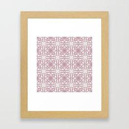 Pink Lavender Flowery Check Framed Art Print