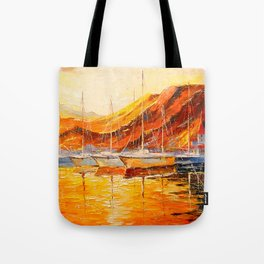 Golden sunset at the mountains Tote Bag