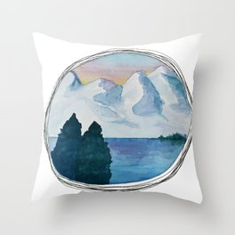 Spanish Snowy Mountains over the River Throw Pillow