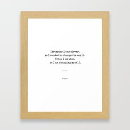 Rumi Quote On Life 05 - Minimal, Sophisticated, Modern, Classy Typewriter Print Framed Art Print