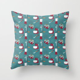 Retro Kitchen - Teal and Raspberry Throw Pillow
