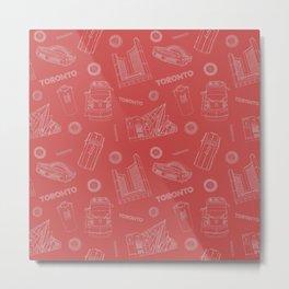 Toronto Life - White on Red Metal Print