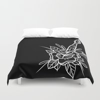 artsy Duvet Covers featuring artsy rose by Frank Ready
