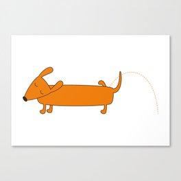 Cute pissing dachshund Canvas Print