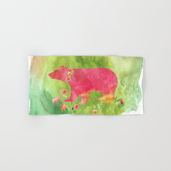 Bear  with flowers - Animal watercolor illustration Hand & Bath Towel