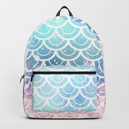 Mermaid Scales Turquoise Pink Sunset Backpack