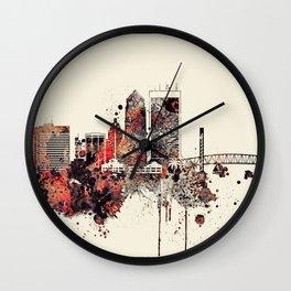 Jacksonville City Skyline Wall Clock