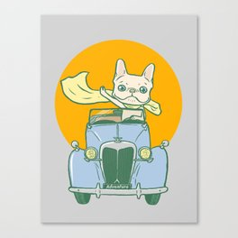 Frenchie's summer road trip Canvas Print