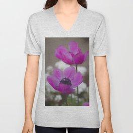anemone coronaria in the garden Unisex V-Neck