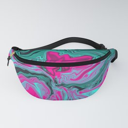 Abstract Marble Art Green Pink Tone Color Fanny Pack