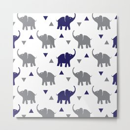 Elephants & Triangles - Gray / Navy Blue Metal Print