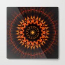 Marigold Red Mandala design Metal Print