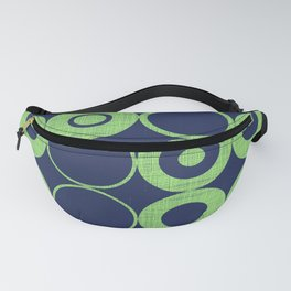 Green Bubbles on blue Fanny Pack