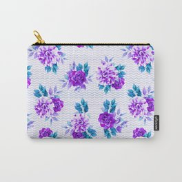 Pastel lilac violet hand painted watercolor floral geometric pattern Carry-All Pouch
