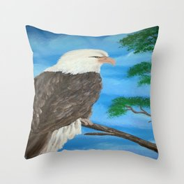 Painting stretcher acrylic eagle Throw Pillow
