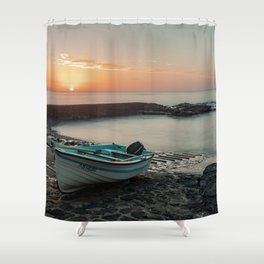 Sunset in the dock Shower Curtain