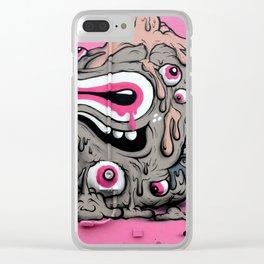 Urban Street Art: Pink Oozing Eye Creature (Buff Monster) Clear iPhone Case