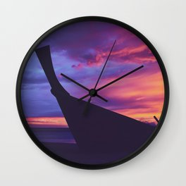 Longtail Thai boat on the beach Wall Clock
