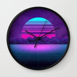 Future Sunset Vaporwave Aesthetic Wall Clock