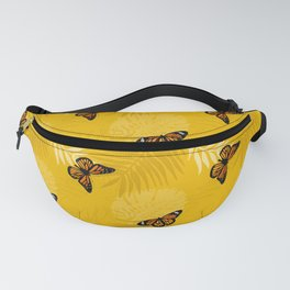 Yellow Tropical Plam Leaves and Butterflies Fanny Pack
