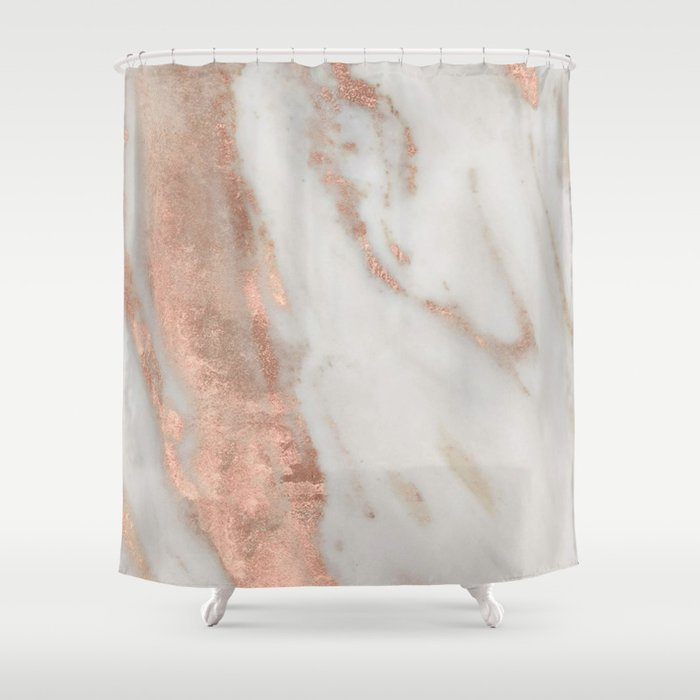 Marble Rose Gold Shimmery Shower Curtain