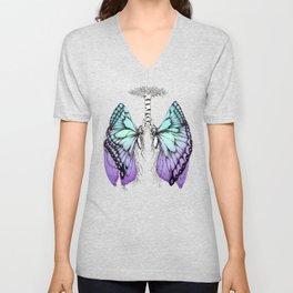 Butterfly Lungs Blue Purple Unisex V-Neck