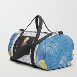 Portrait of youth Mozart on blue canvas with Fleur-de-lis by Ksavera Duffle Bag