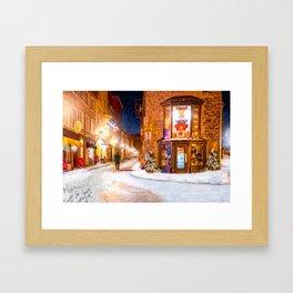 Beautiful Winter Night In Vieux Quebec Framed Art Print
