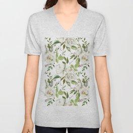 Botanical green off white ivory watercolor modern flowers Unisex V-Neck