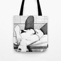 apollonia Tote Bags featuring asc 552 - Les petits voyeurs (Small voyeurs) by From Apollonia with Love