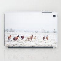 large iPad Cases featuring Winter Horses by Kevin Russ