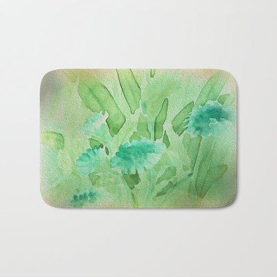 Elegant Soft Watercolor Floral  Bath Mat