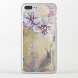 Floating Orchids On Sea Of Ochre Clear iPhone Case