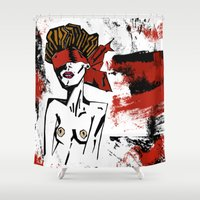 bondage Shower Curtains featuring Bondage Color W by Red Dust