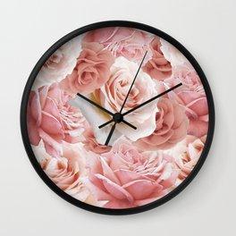 Soft Pink Roses Wall Clock