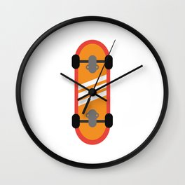 Orange Skateboard Wall Clock