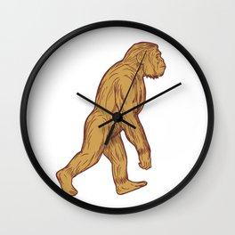 Homo Habilis Walking Side Drawing Wall Clock