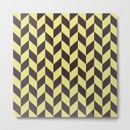 Pastel yellow and charcoal black chevron pattern Metal Print