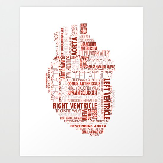 anatomical heart typography art print by compass ink society6