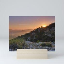 Sunset at the mountains. Sierra de Huetor Natural Park Mini Art Print