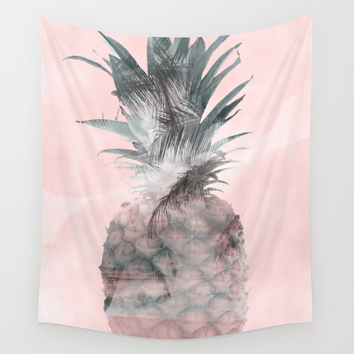 Pink Tropical Beachy Pineapple Wall Tapestry