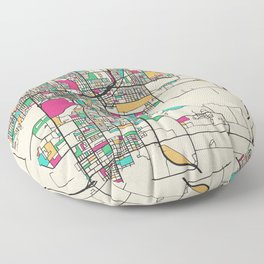 Colorful City Maps: Des Moines, Iowa Floor Pillow