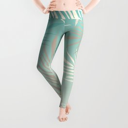 Palm leaves in soft bluish pastel colors Leggings