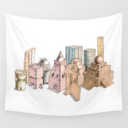 the city painted in pastel colours . illustration . art Wall Tapestry