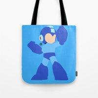 mega man Tote Bags featuring Mega Man(Smash)Black by samaran