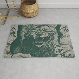 Angry Male Lion pattern graphics kazakh al fabric Rug