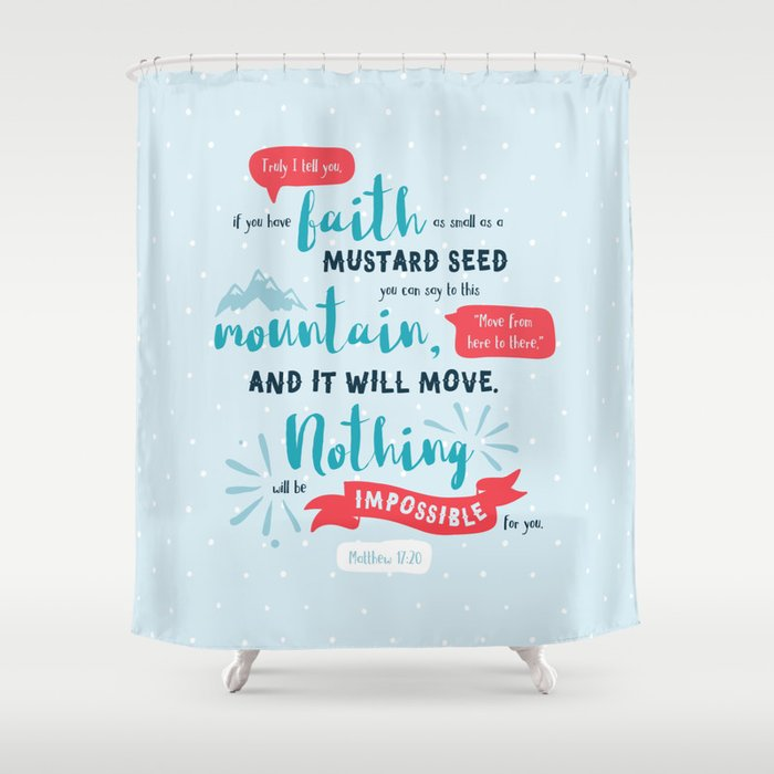 Nothing Will Be Impossible Hand Lettered Bible Verse Shower Curtain By Cinacatteau