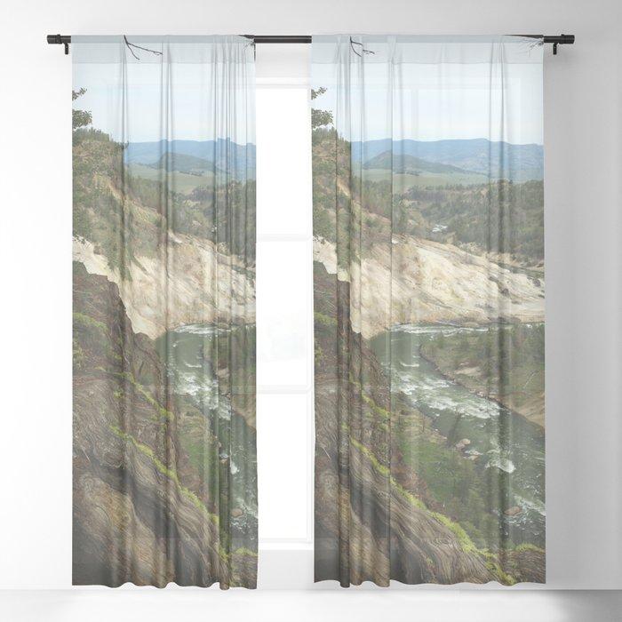 Yellowstone River View Sheer Curtain